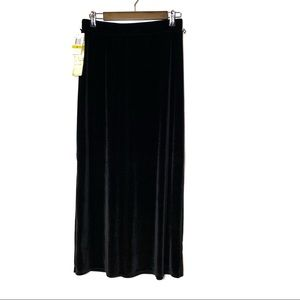 LAPIS LONG BLACK VELOUR SKIRT ELASTIC WAIST SIZE M